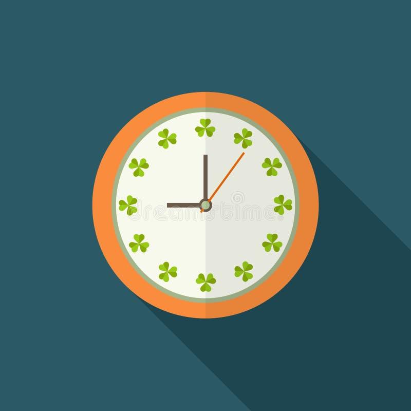 Uhr-Ikone mit Shamrocks und langem Schatten Positives Tagesbeginn-Konzept stock abbildung