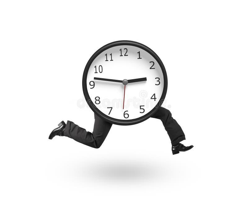 Uhr mit dem menschlichen Beinlaufen stockbild
