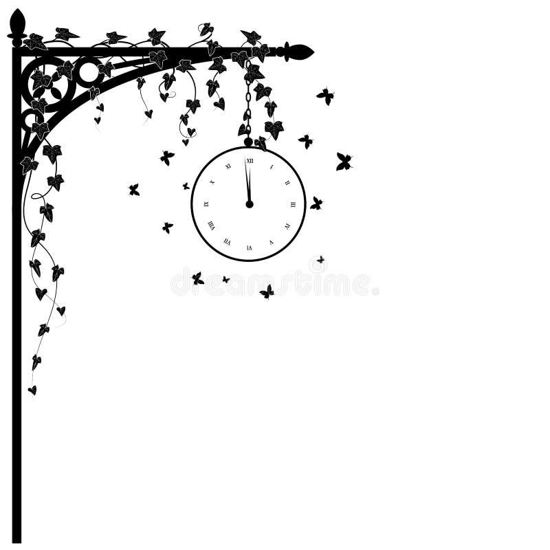 Uhr und Efeu lizenzfreie abbildung