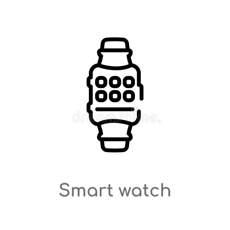 Uhr-Vektorikone des Entwurfs intelligente lokalisiertes schwarzes einfaches Linienelementillustration vom Technologiekonzept Edit stock abbildung