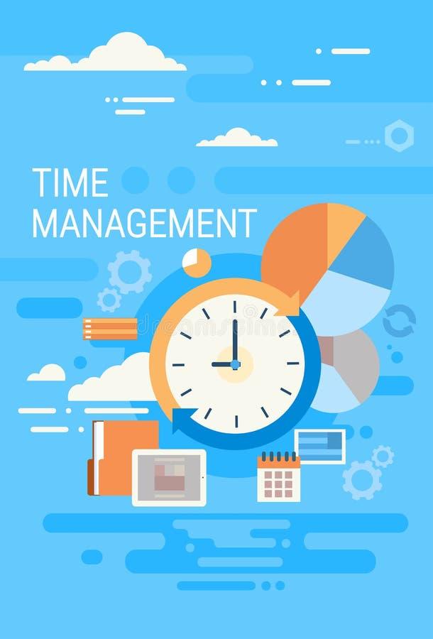 Uhr-Zeit-Management-Konzept-Zusammenfassung lizenzfreie abbildung