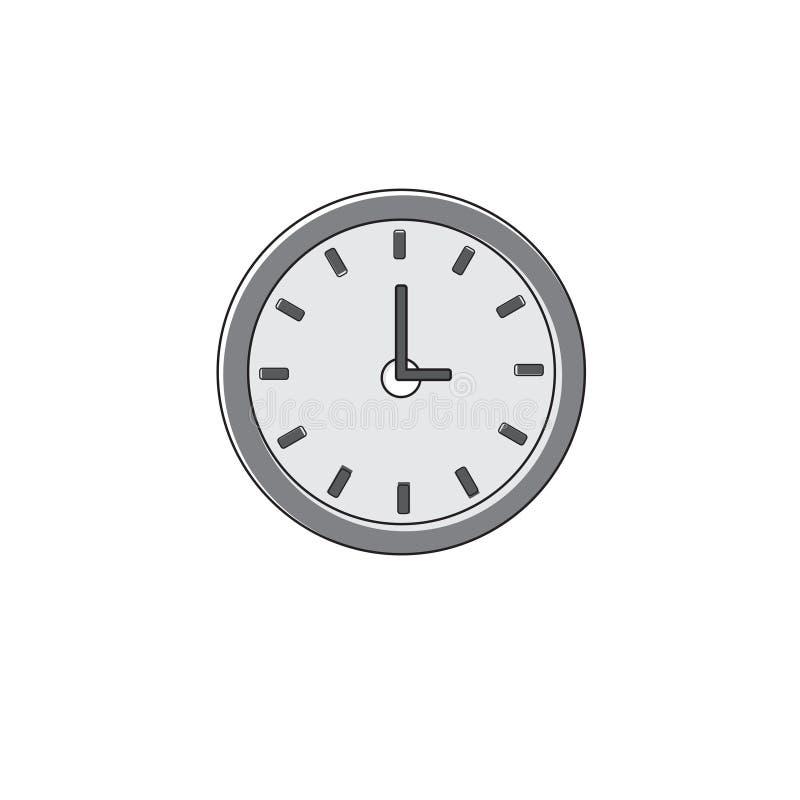 Uhr-Zeit-Uhr-Ikone verdünnen Linie lizenzfreie abbildung