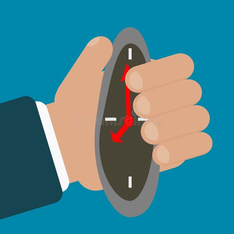 Uhr zusammengedrückt durch Geschäftsmannhand vektor abbildung