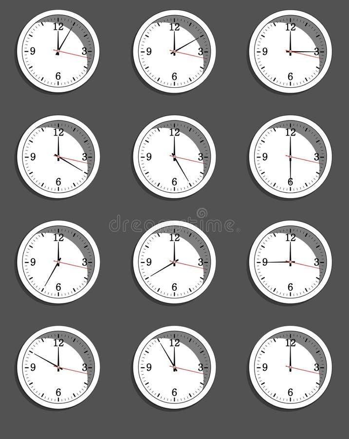 Uhren, die unterschiedliche Zeit zeigen Vektor lizenzfreie abbildung