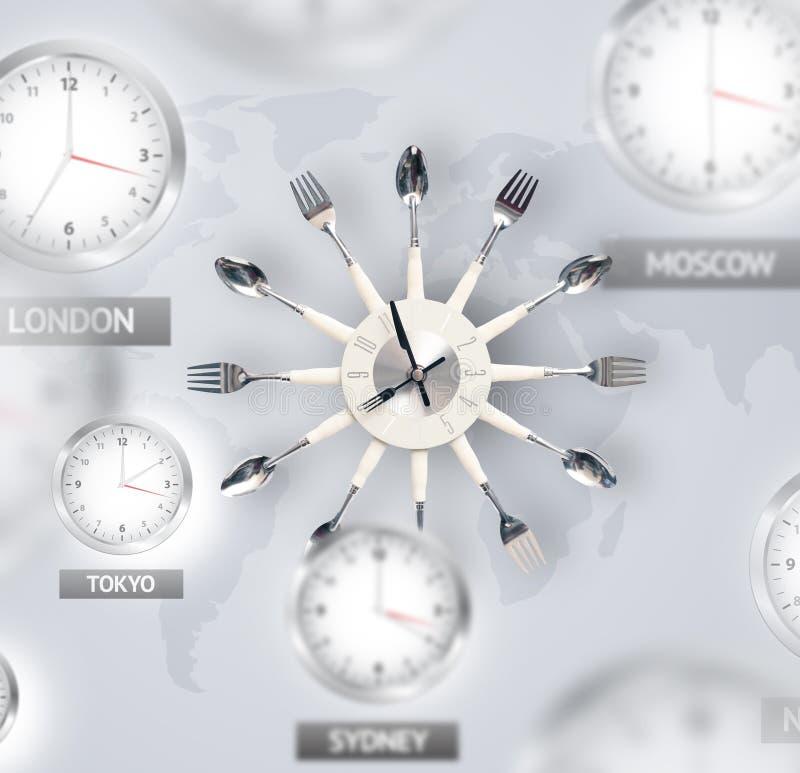 Uhren und Zeitzonen über dem Weltkonzept lizenzfreies stockbild