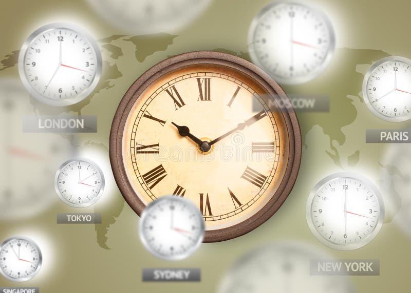 Uhren und Zeitzonen über dem Weltkonzept stockbild