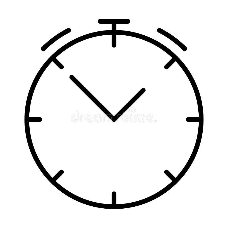 Uhrlinie Ikone Lineares Symbol der Stoppuhr Vektor unterzeichnen herein Entwurfsart stock abbildung