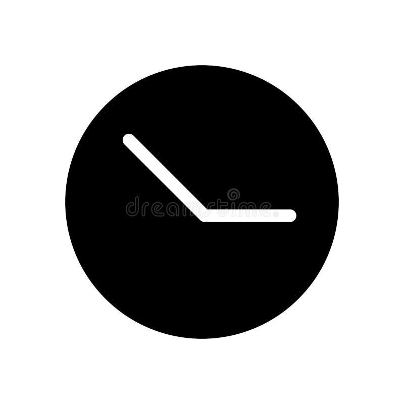Uhrvektorikone Schwarzweiss-Uhrillustration Feste lineare Zeitikone lizenzfreie abbildung