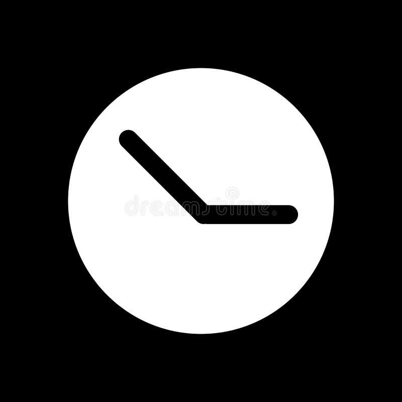 Uhrvektorikone Schwarzweiss-Uhrillustration Feste lineare Zeitikone stock abbildung