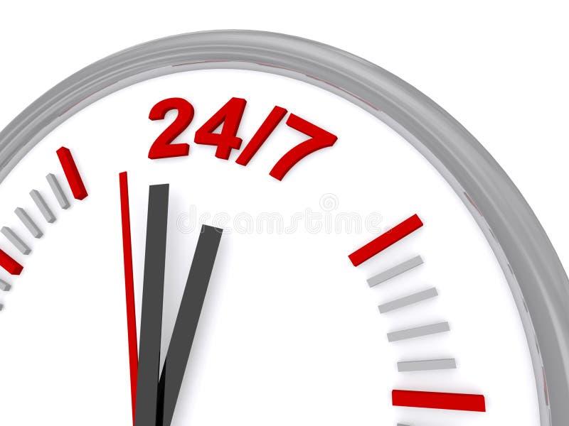 24/7 Uhrzeichen stock abbildung