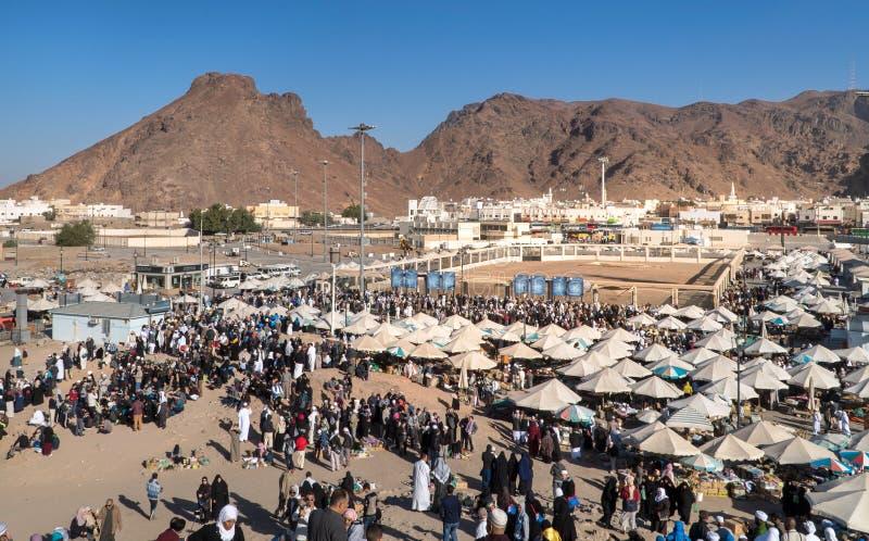 Uhud-Berg ist einer des historischen Platzes in der islamischen Geschichte lizenzfreies stockbild