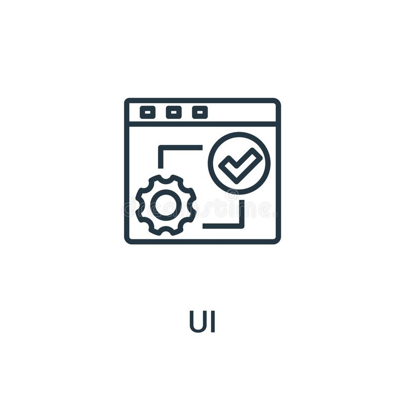 ui从seo汇集的象传染媒介 稀薄的线ui概述象传染媒介例证 线性标志为在网和流动应用程序的使用, 向量例证