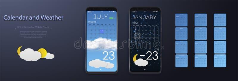 UI元素、天气和日历应用用户界面概念 日历2018年 库存例证