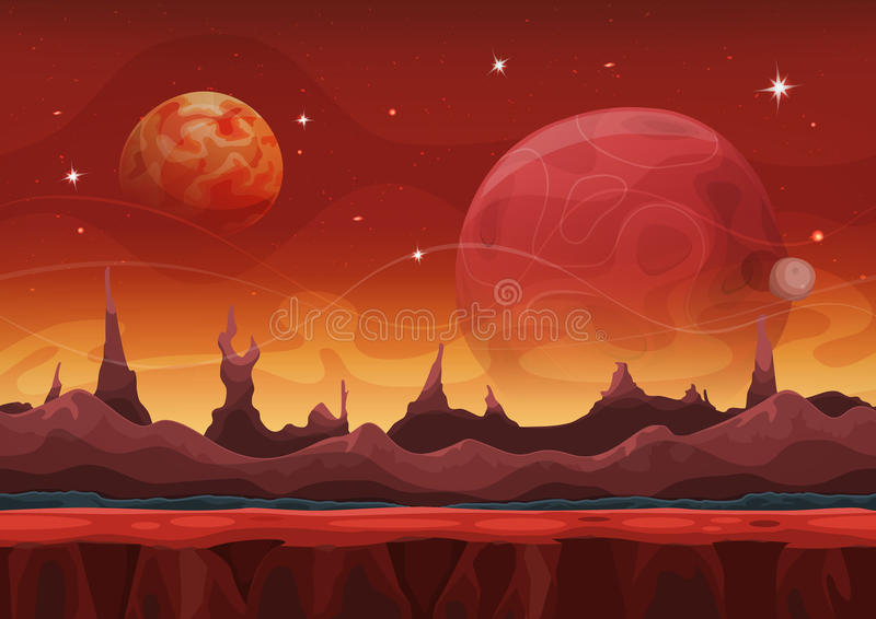 Ui比赛的幻想科学幻想小说火星的背景 库存例证