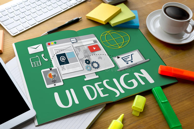 UI设计网站软件媒介创造创新的万维网Imagi 库存图片