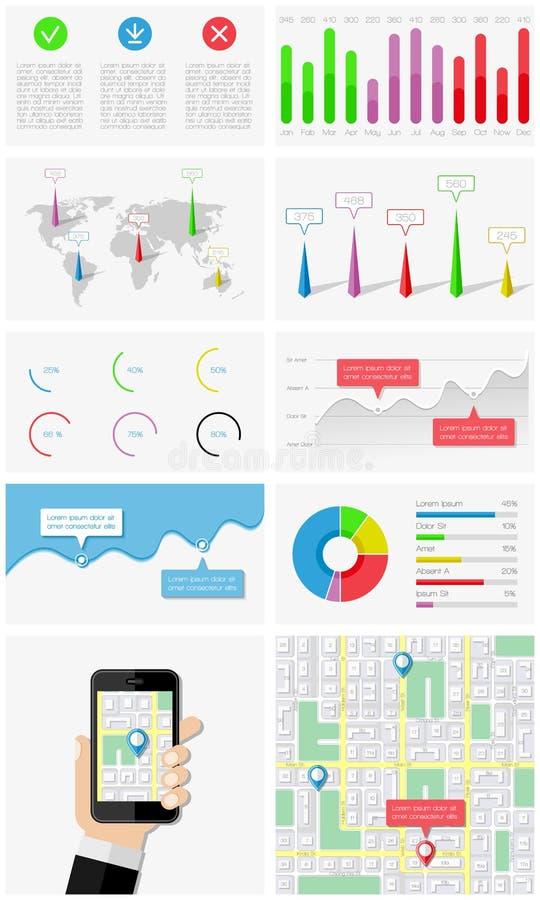 Ui, infographics和用户界面的元素 向量例证