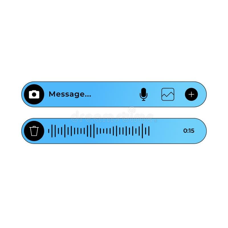 UI аудио и текстового сообщения для современных посыльных и болтовни иллюстрация штока