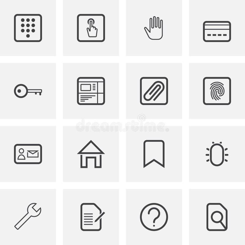 UI и UX, всеобщая линия набор значков иллюстрация штока
