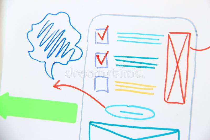 Ui app design development. Plan mobile application. Software development. Ux design royalty free stock image