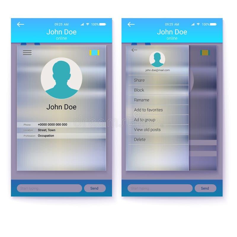 UI beweglicher APP Seite Profil- und Sidebarmenüschirm Schnittstelle von APP auf Metallhintergrund GUI-Design für entgegenkommend lizenzfreie abbildung