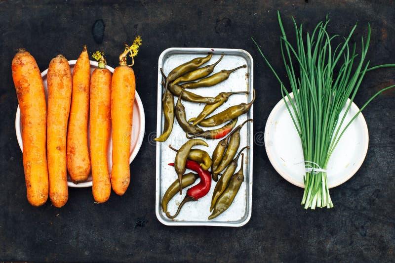 Ui, biet, peper, knoflook, wortel, kool klaar voorbereidingen te treffen sa stock fotografie