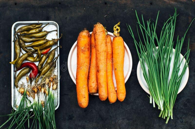 Ui, biet, peper, knoflook, wortel, kool klaar voorbereidingen te treffen sa royalty-vrije stock afbeelding