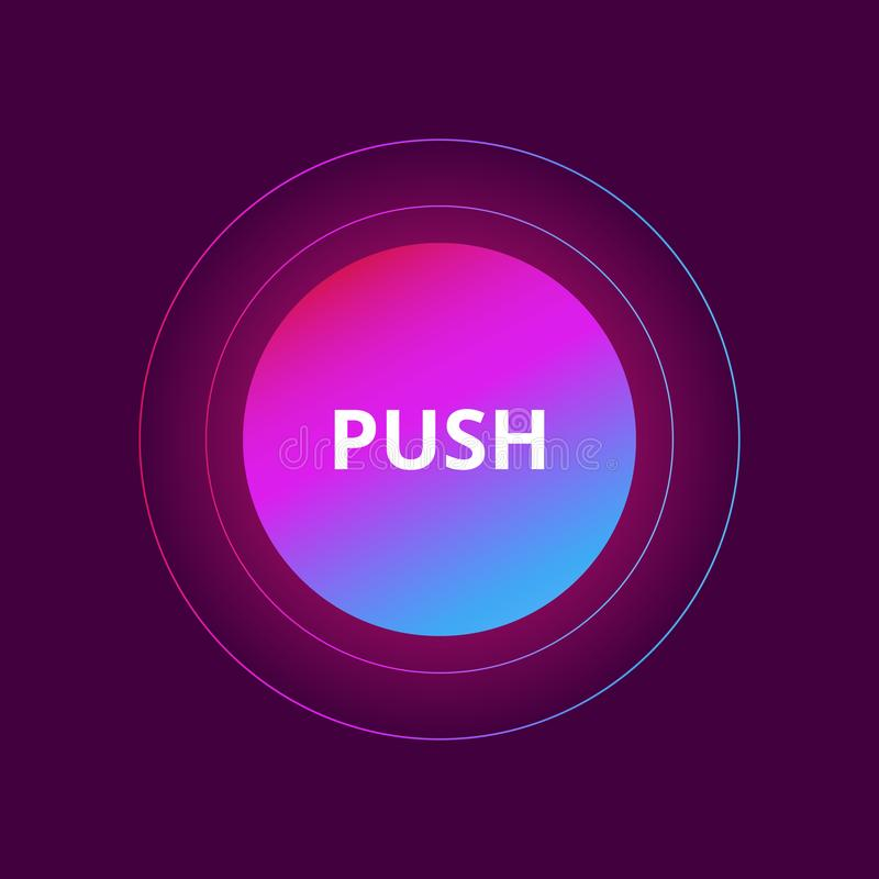 Ui circle flat design for site Push Button.Vector illustration with colorful gradient or color transition mobile devices. Icons, banner more stock illustration