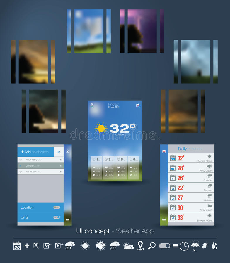 UI concept for Weather App stock photography