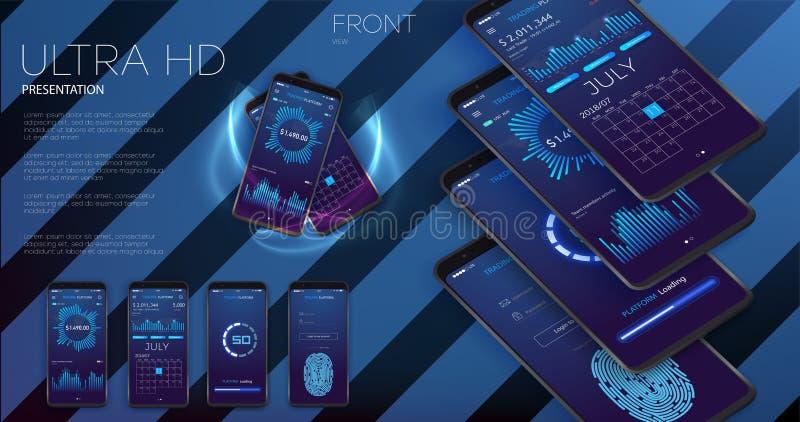 UI criativo, UX, disposição do GUI para o comércio eletrônico, o Web site responsivo e os apps móveis incluindo o início de uma s ilustração royalty free