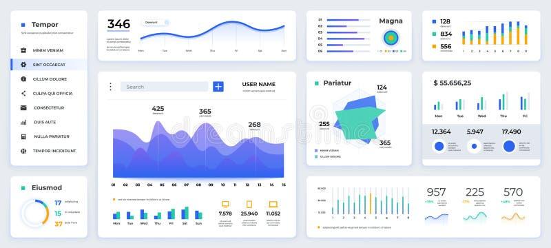 Ui del cruscotto Presentazione moderna con l'interfaccia pulita e semplice dei grafici di dati e dei diagrammi di HUD, del app We illustrazione vettoriale