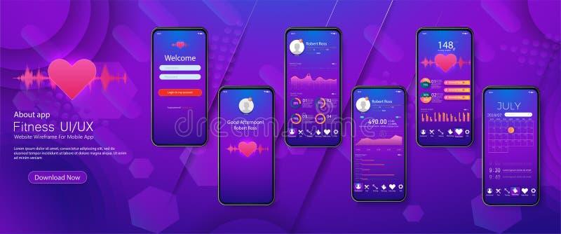 UI differente, UX, app di forma fisica degli schermi del GUI royalty illustrazione gratis