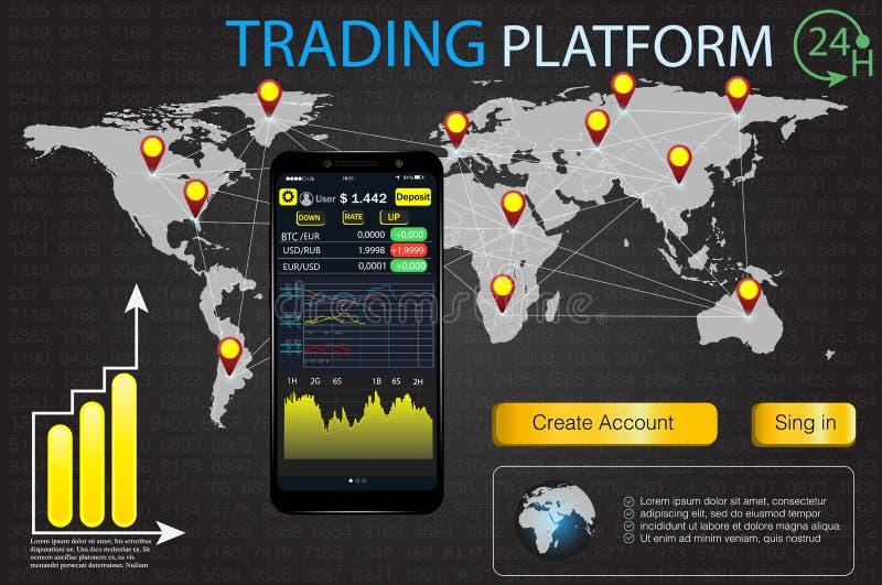 UI dla biznesu app Handlowa targowa Binarna opcja Ustawia sieci Infographic płaskich elementy, mapa, diagramy Abstrakcjonistyczna royalty ilustracja