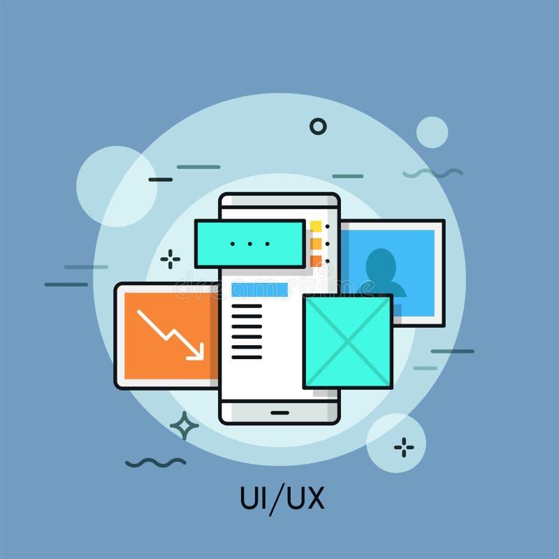 UI, dun de lijnconcept van UX royalty-vrije illustratie