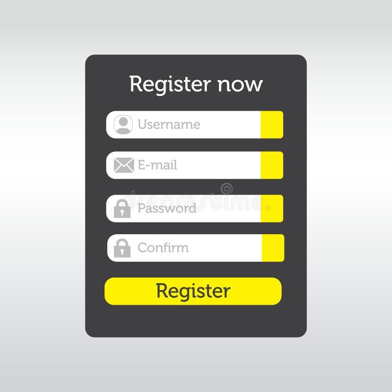 UI Element Registration Form Vector voor bedrijven royalty-vrije illustratie