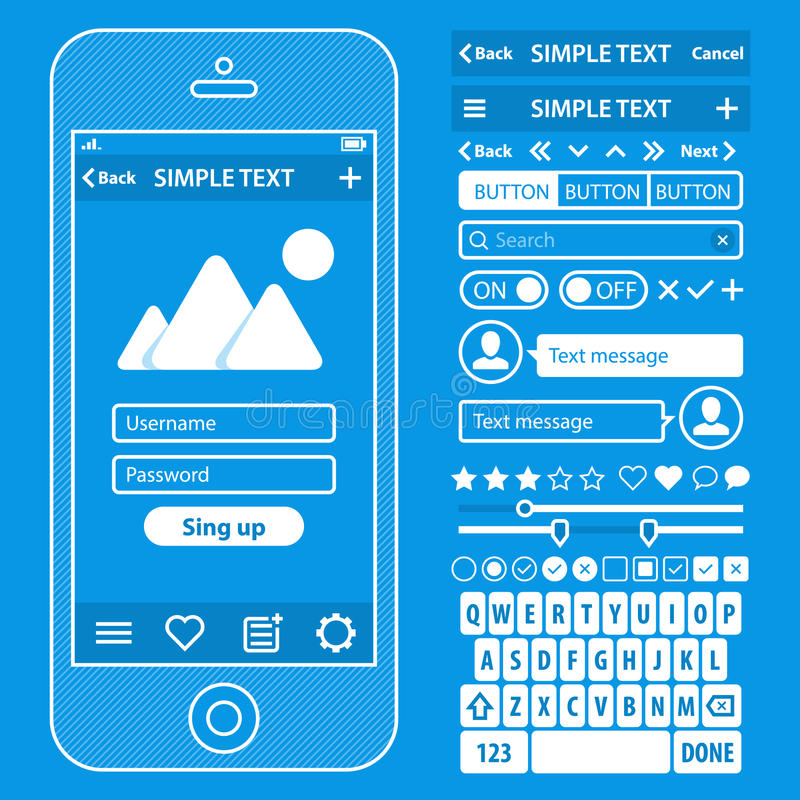 Ui elements blueprint design vector kit in trendy stock vector download ui elements blueprint design vector kit in trendy stock vector illustration of phone malvernweather Gallery