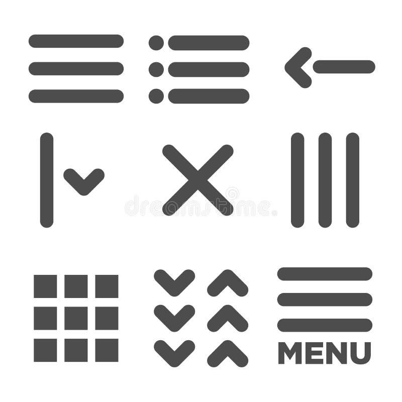 UI en UX-Pictogrammen voor Mobiele of Webtoepassingen stock illustratie