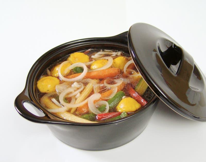 Ui en veggie soep stock foto