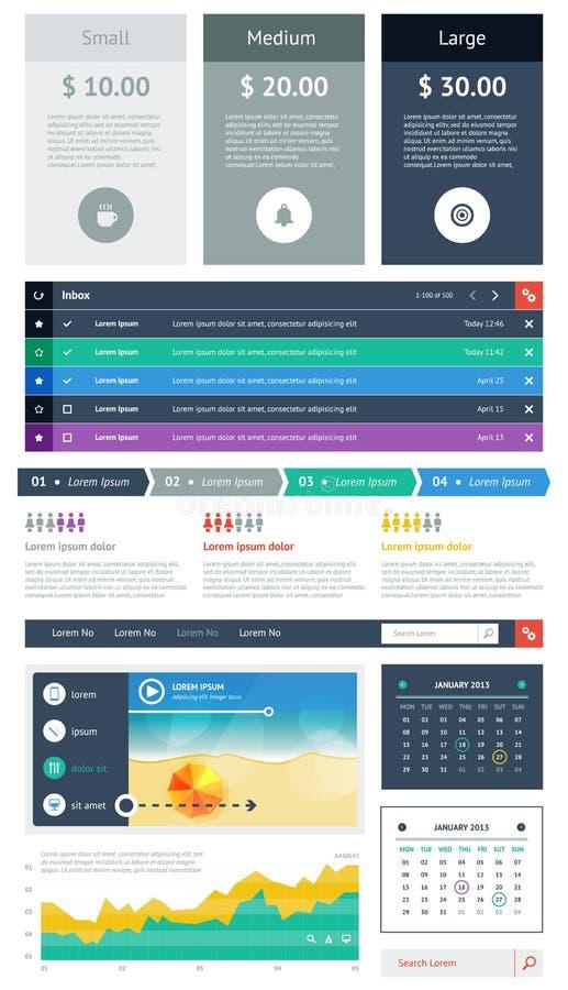 UI es componentes de un sistema que ofrecen el diseño plano libre illustration
