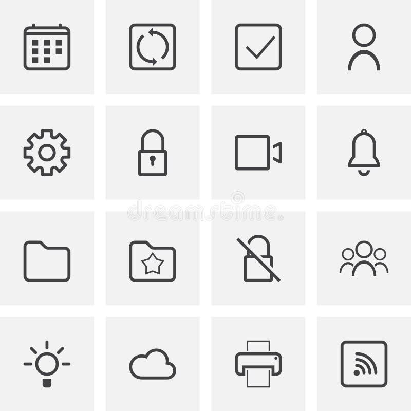 UI et UX, ligne universelle ensemble d'icônes illustration libre de droits