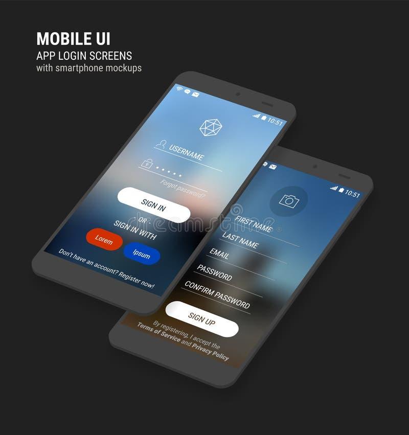 UI firman adentro y firman para arriba las pantallas y el equipo de la maqueta de 3d Smartphone stock de ilustración