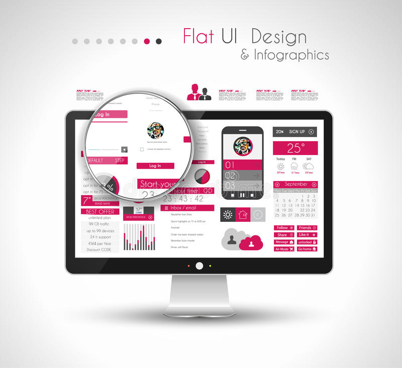UI Flat Design Elements in a modern HD screen computer royalty free illustration