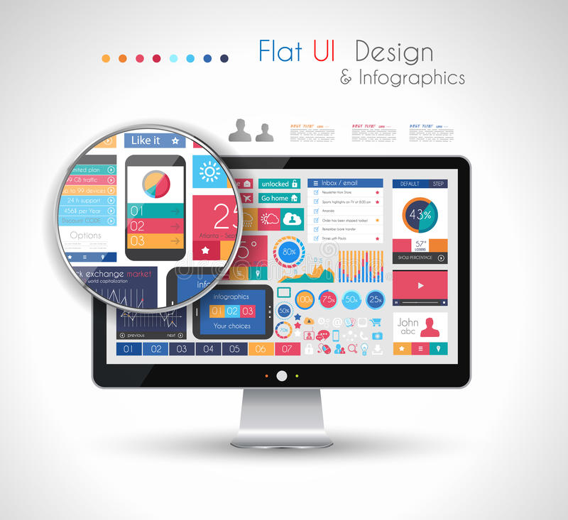 UI Flat Design Elements in a modern HD screen computer: stock illustration