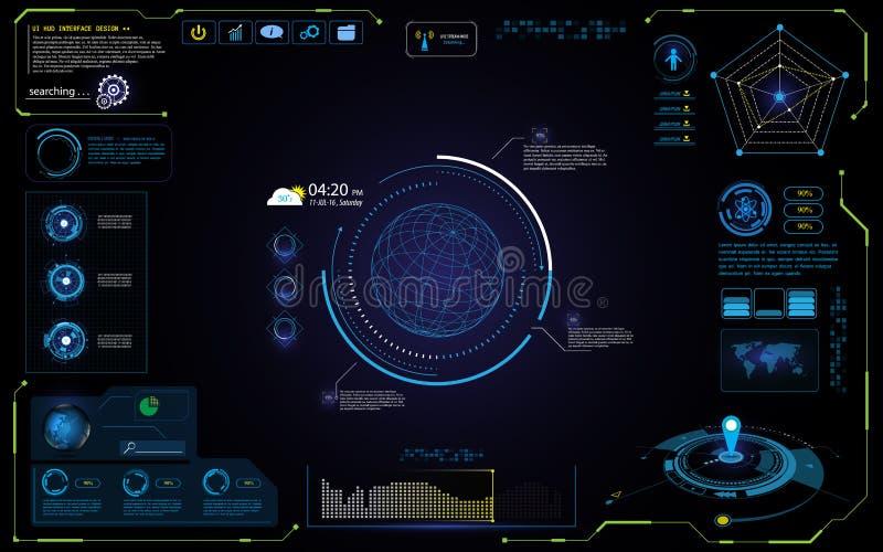 UI futuristic hud interface interactive visualization sci fi concept design vector illustration