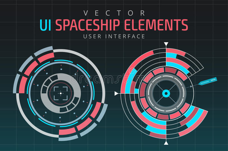 UI hud infographic interface web elements. Futuristic space thin HUD user interface royalty free illustration