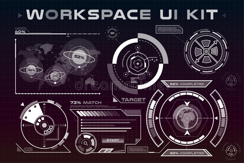 UI hud infographic interface web elements. Futuristic space thin HUD user interface. Web UI interface elements, UI elements, UI design, UI vector icons. Game royalty free illustration