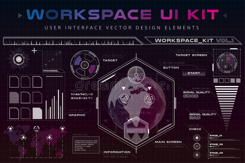 UI hud infographic interface web elements. Futuristic space thin HUD user interface. Web UI interface elements, UI elements, UI design, UI vector icons. Game stock illustration