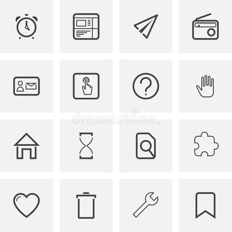 UI i UX, cech ogólnych kreskowe ikony ustawiać royalty ilustracja