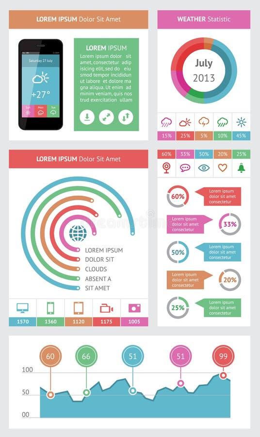 Infographics Ui Design Et Web Design: Ui, Infographics And Web Elements Including Flat Design