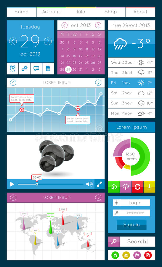 Download Ui, Infographics And Web Elements Including Flat D Stock Vector - Image: 33874819