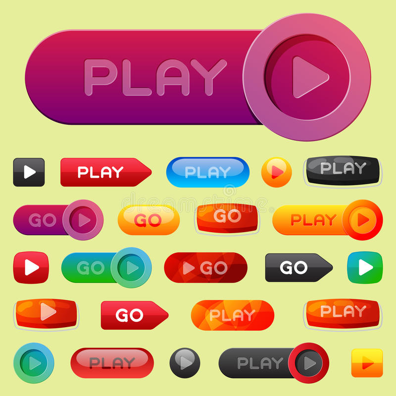 UI interface button play media internet website element online player mark click vector illustration. UI interface button play media internet isolated website stock illustration